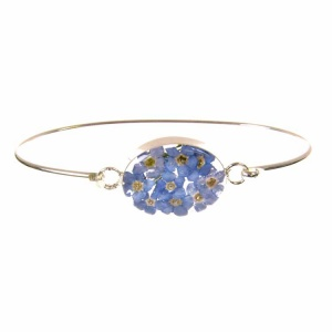 Forget-Me-Not Oval Silver Bangle