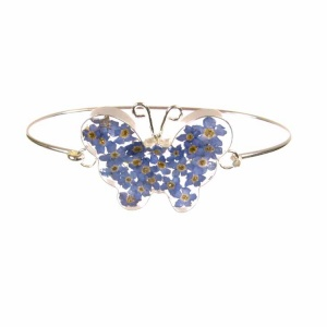 Forget-Me-Not Butterfly Silver Bangle