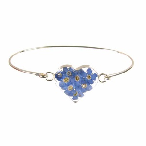 Forget-Me-Not Heart Silver Bangle