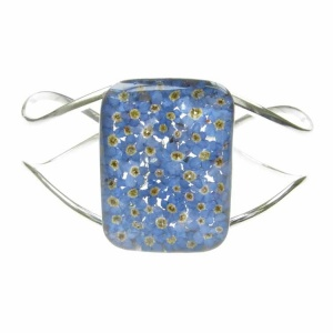 Forget-Me-Not Rectangle Chunky Silver Bangle