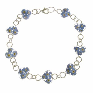 Forget-Me-Not Heart Silver Bracelet