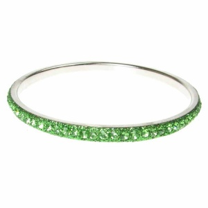 Green Crystal Bangle - Single Row