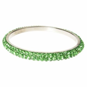 Green Crystal Bangle - Three Rows