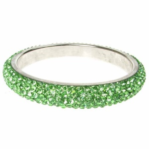 Green Crystal Bangle - Five Rows
