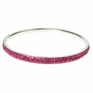 Hot Pink Crystal Bangle - Single Row