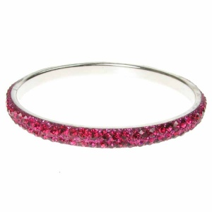 Hot Pink Crystal Bangle - Two Rows