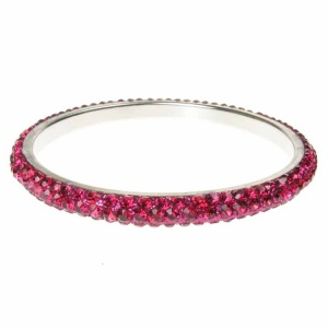 Hot Pink Crystal Bangle - Three Rows