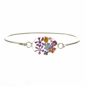 Mixed Flower Oval Silver Bangle