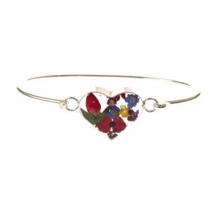 Mixed Flower Heart Silver Bangle