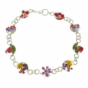 Mixed Flower Round Silver Bracelet