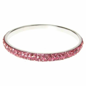 Pink Crystal Bangle - Two Rows