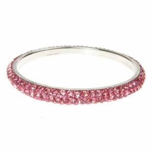 Pink Crystal Bangle - Three Rows