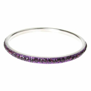 Purple Crystal Bangle - Single Row