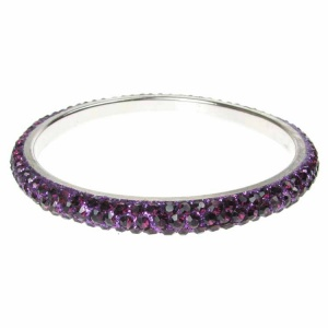 Purple Crystal Bangle - Three Rows