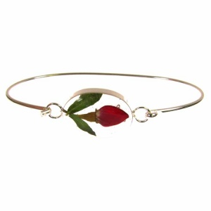 Rose Bud Oval Silver Bangle