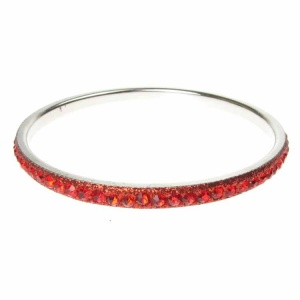 Red Crystal Bangle - Single Row