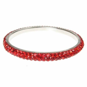 Red Crystal Bangle - Three Rows