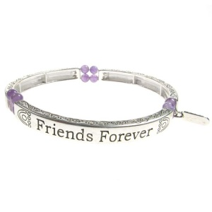 Amethyst Sentiment Bracelet - Friends Forever