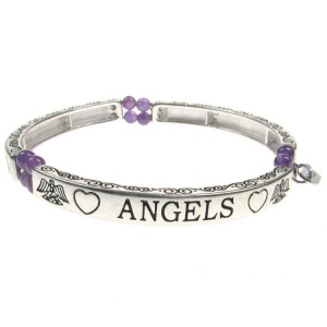 Amethyst Sentiment Bracelet - Angels