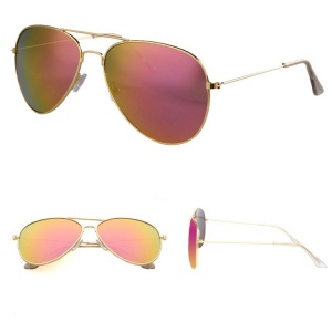 Classic Gold Two Toned Lensed Aviator Sunglasses