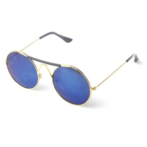 Gold Round Blue Revo Lensed Sunglasses