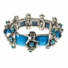 Blue Crystal and Silver Flower Bracelet