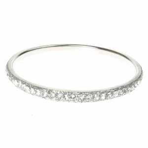 Silver Crystal Bangle - Single Row