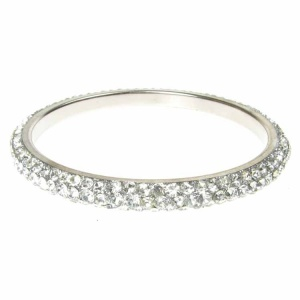 Silver Crystal Bangle - Three Rows