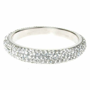 Silver Crystal Bangle - Five Rows
