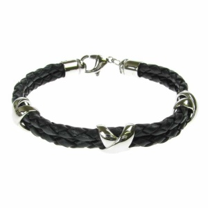 Leather and Stainless Steel 3 Cross Motif Black Bolo Bracelet