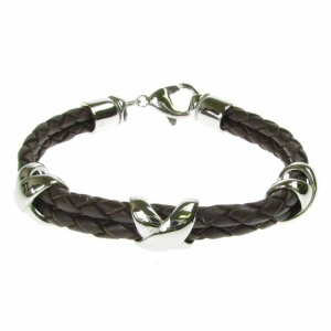 Leather and Stainless Steel 3 Cross Motif Brown Bolo Bracelet