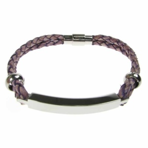 Violet Leather and Stainless Steel ID Bracelet