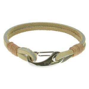 Beige Leather and Stainless Steel 2 Strand Bracelet