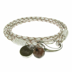 White Leather and Stainless Steel 2 Row Wrap Bracelet
