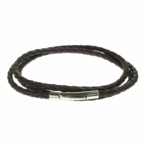 Brown Leather and Stainless Steel 3 Row Wrap Bracelet