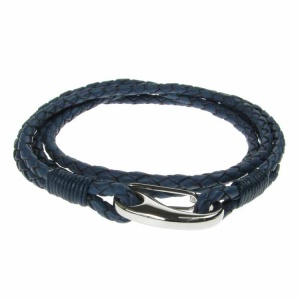 Navy Leather and Stainless Steel 2 Row Wrap Bracelet