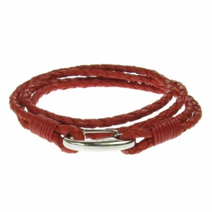 Red Leather and Stainless Steel 2 Row Wrap Bracelet