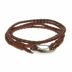 Tan Leather and Stainless Steel 2 Row Wrap Bracelet