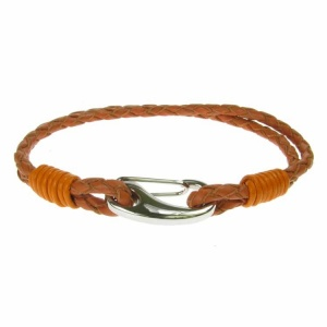 Orange Leather and Stainless Steel 3mm 2 Strand Bracelet