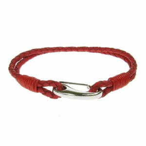Red Leather and Stainless Steel 3mm 2 Strand Bracelet