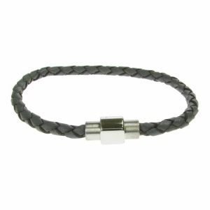 Grey Leather and Stainless Steel 4mm Plait Bracelet