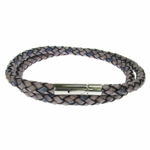 Denim Leather and Stainless Steel 2 Row Wrap Bracelet