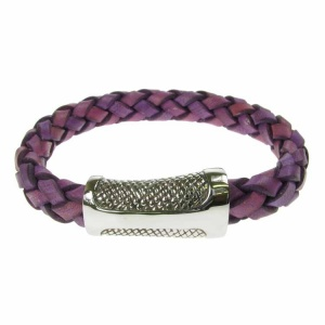 Violet Leather and Stainless Steel Sheath Clasp 10mm Bracelet