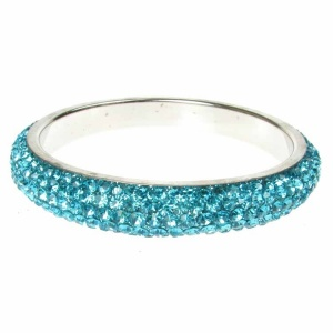 Turquoise Crystal Bangle - Five Rows