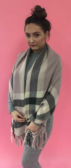 Brown Check Pink and White Woven Scarf